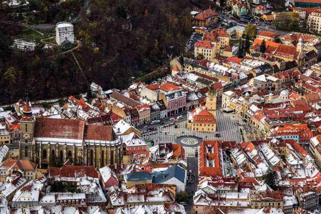 View over Brasov's main square from Tampa mountain