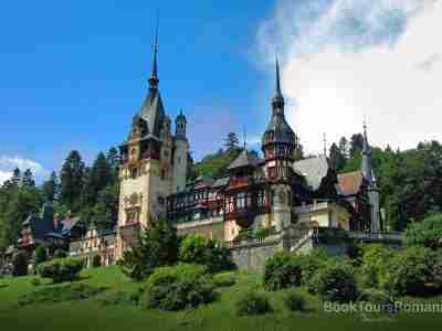 Peles Castle from the Carpathian Mountains