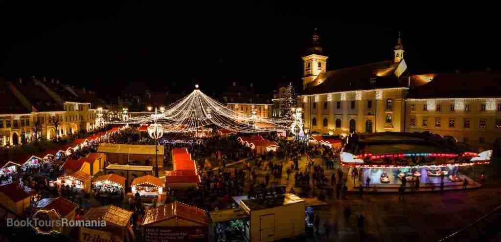 View over the Sibiu Christmas Market