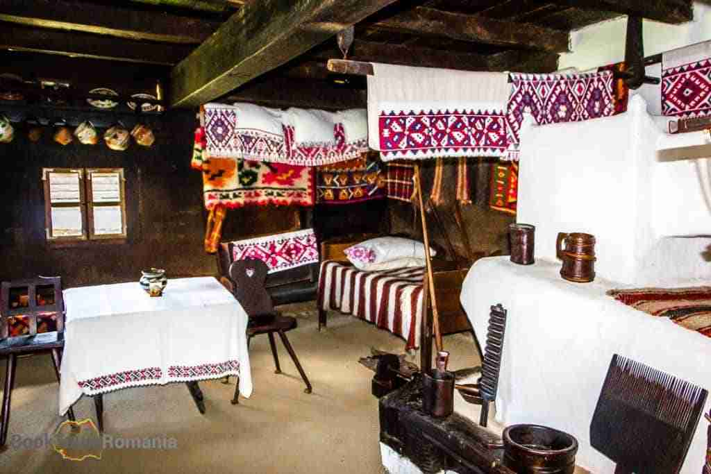 The interior of a house from the Village Museum