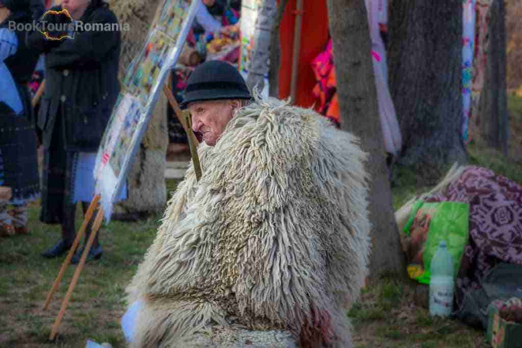 Old peasant at an event organized by the Village Museum