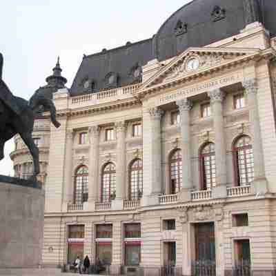 Central University Library and the statue of King Carol I of Romania